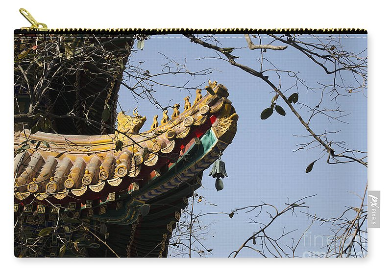Buddhism Carry-all Pouch featuring the photograph Yonghegong Temple 9108 by Terri Winkler