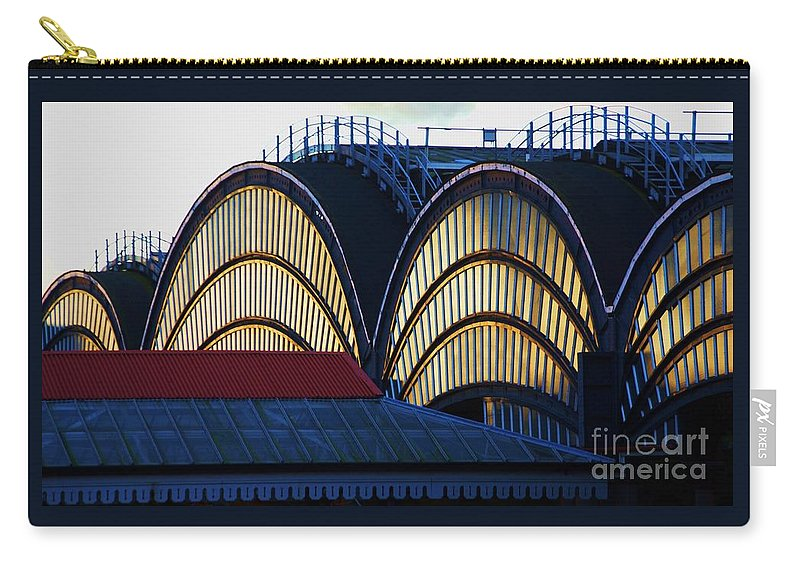 York England Train Station Glass Archways Victorian Architecture Reflections Travel Sunlight Historic Building Iconic Depot Maintenance Ladders Roofs Light And Shade Collectible Industrial Yorkshire Windows Landmark Metal Frame Canvas Print Poster Print Available On Greeting Cards T Shirts Tote Bags Pouches Weekender Tote Bags Mugs And Phone Cases Carry-all Pouch featuring the photograph York Train Station # 3 by Marcus Dagan