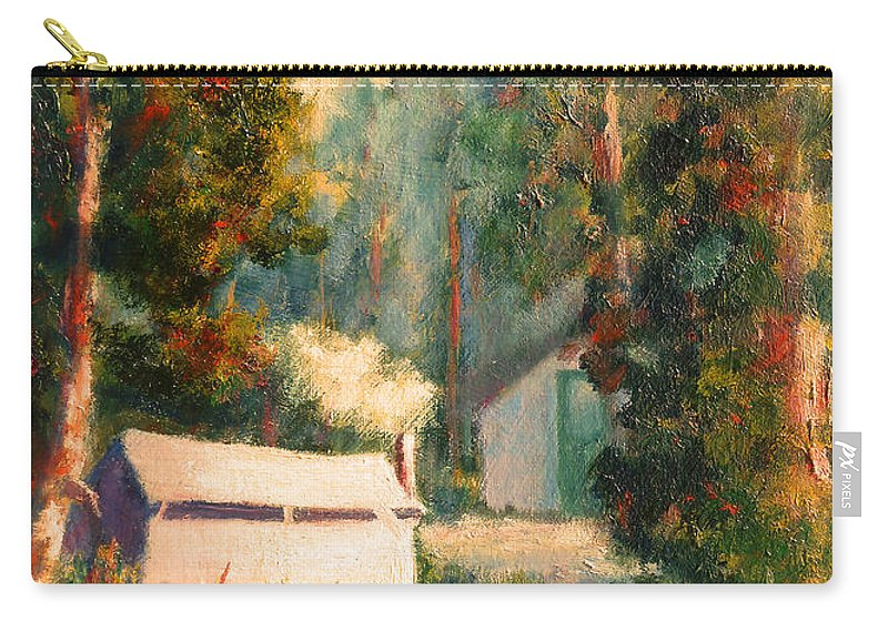 Yosemite Tent Cabins Carry-all Pouch featuring the painting Yosemite Tent Cabins by Carolyn Jarvis
