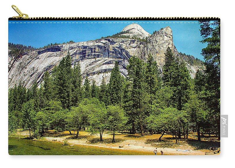 Beautiful Carry-all Pouch featuring the painting Yosemite Valley Along Yosemite River Beach by Bob and Nadine Johnston
