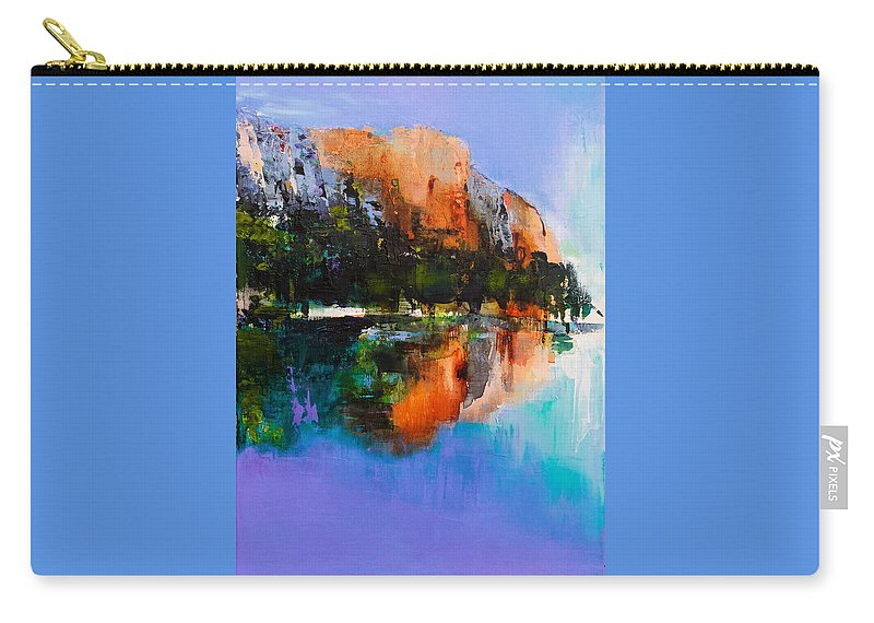 Yosemite Carry-all Pouch featuring the painting Yosemite Valley by Elise Palmigiani