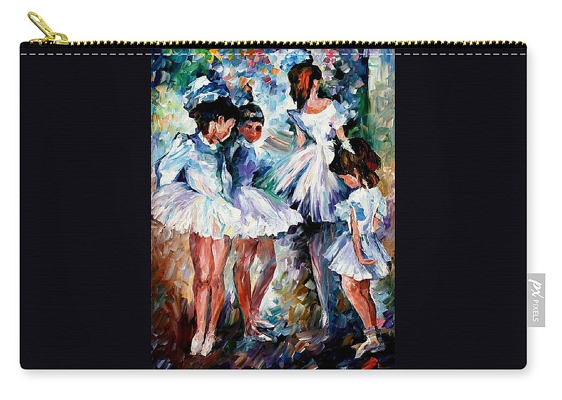 Art Gallery Carry-all Pouch featuring the painting Young Ballerinas - Palette Knife Oil Painting On Canvas By Leonid Afremov by Leonid Afremov