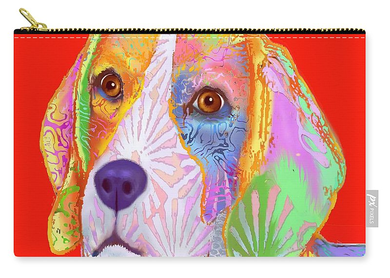 Red Background Carry-all Pouch featuring the digital art Young Beagle by Marlene Watson