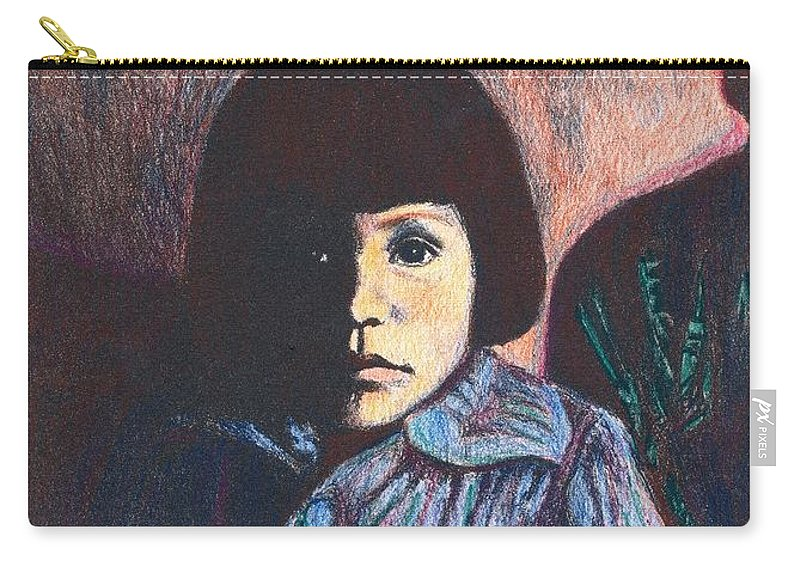 Girl Carry-all Pouch featuring the drawing Young Girl In Blue Sweater by Kendall Kessler