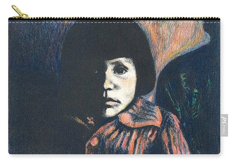 Girl Carry-all Pouch featuring the drawing Young Girl by Kendall Kessler