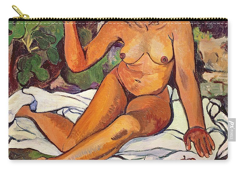 Female; Nude; Red Headband; Seated; Portrait; Fruit; Apples; Pears; Exotic Carry-all Pouch featuring the painting Young Half Caste Woman by Marie Clementine Valadon