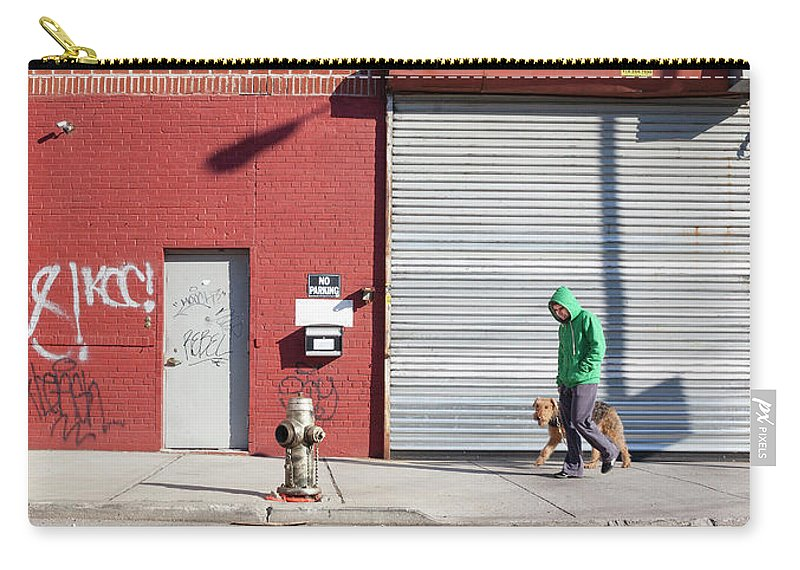 Pets Carry-all Pouch featuring the photograph Young Man Walks Dog by Alex Potemkin
