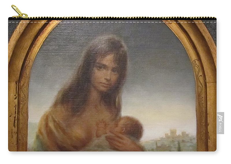 Young Mother Of Urbino Carry-all Pouch featuring the painting Young Mother Of Urbino by Donna Wilson