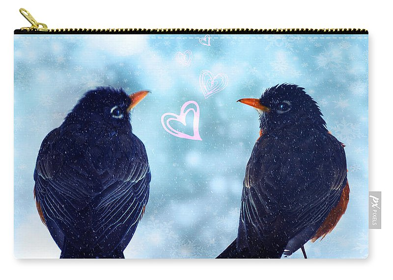 Valentines Day Carry-all Pouch featuring the photograph Young Robins In Love by Lisa Knechtel