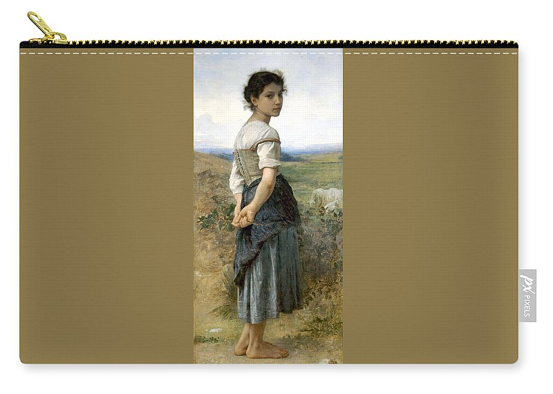 Young Shepherdess Carry-all Pouch featuring the digital art Young Shepherdess by William Bouguereau