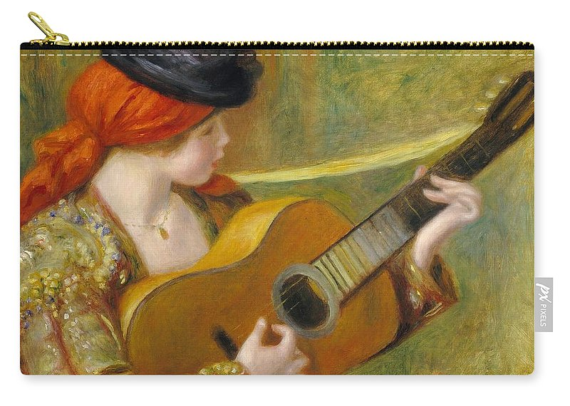 Music; Female; Playing; Instrument; Profile; Impressionist; Impressionism; Musician; Traditional; Costume Carry-all Pouch featuring the painting Young Spanish Woman With A Guitar by Pierre Auguste Renoir