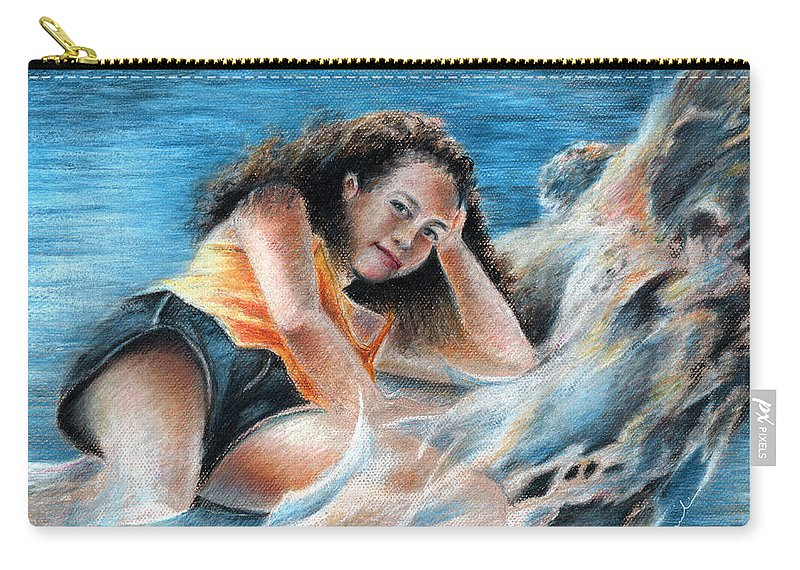Travel Carry-all Pouch featuring the painting Young Tahitian Mermaid by Miki De Goodaboom
