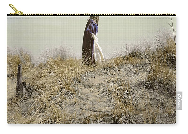 Young Carry-all Pouch featuring the photograph Young Woman In Cloak On A Hill by Jill Battaglia