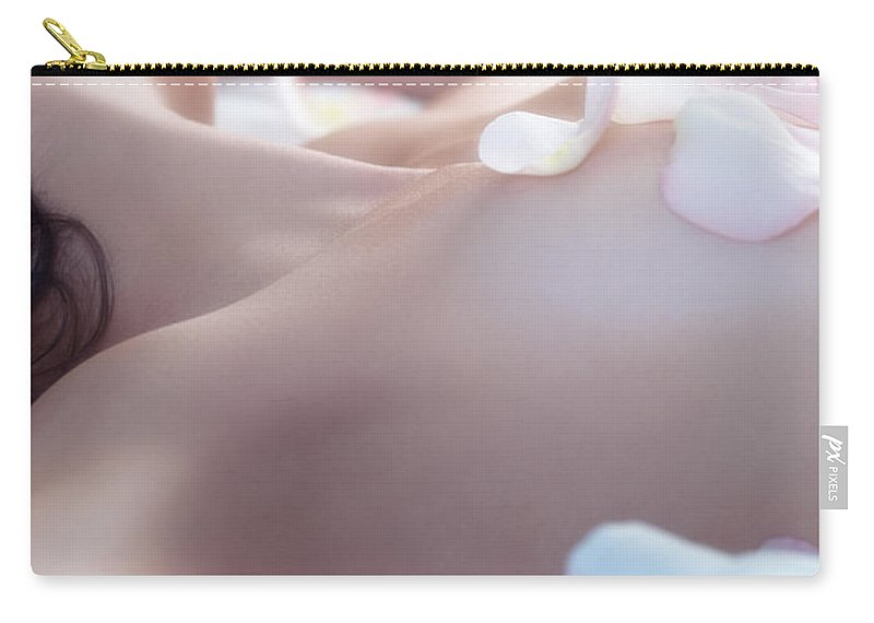 Body Carry-all Pouch featuring the photograph Young Woman With Pink Rose Petals On Her Body by Oleksiy Maksymenko