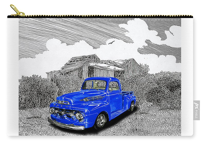 Selective Coloring Art Carry-all Pouch featuring the painting Your 1952 F 100 Pick Up In N M by Jack Pumphrey