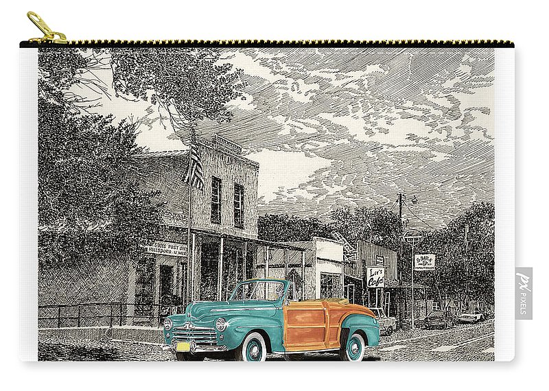 1946 Ford Selective Coloring Art Carry-all Pouch featuring the painting 1946 Ford Sports Man Convertible In Hillsboro N M by Jack Pumphrey
