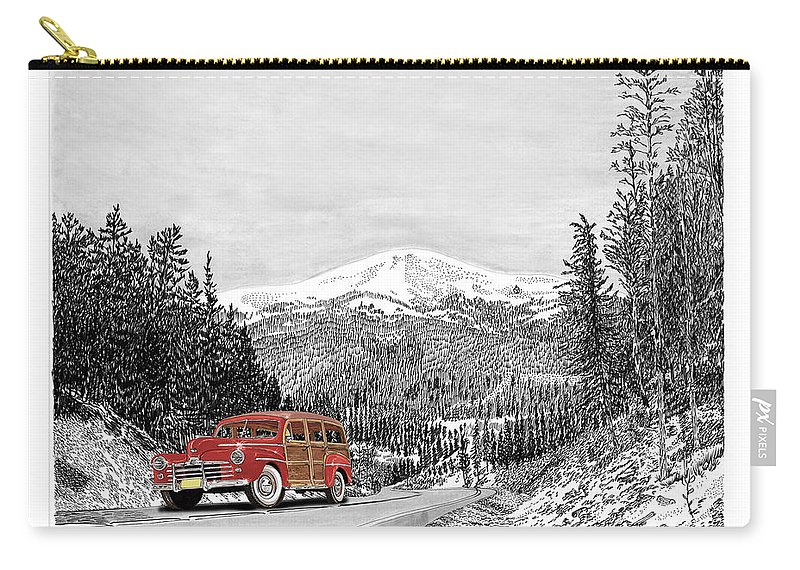 Just Won 1st Place In Selective Color Contest 9-5-17 Carry-all Pouch featuring the painting 1946 Ford Special Deluxe Woody On Apache Summit by Jack Pumphrey