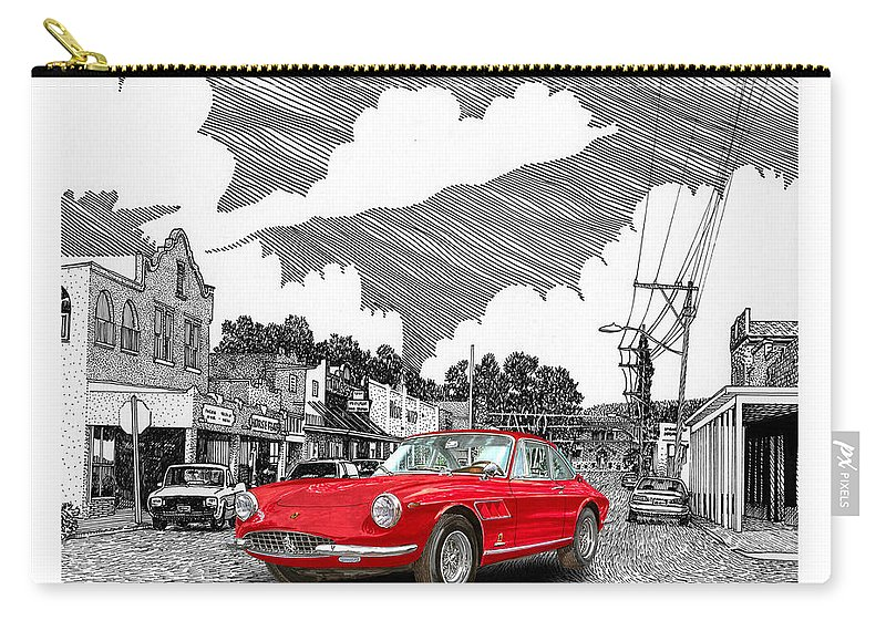 Selective Coloring Art Carry-all Pouch featuring the painting Your Ferrari In Tularosa N M by Jack Pumphrey