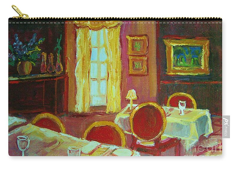Interior Carry-all Pouch featuring the painting Your Table Awaits by Carole Spandau