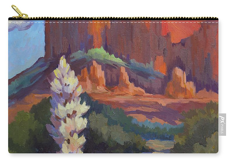 Sedona Carry-all Pouch featuring the painting Yucca At Sedona by Diane McClary
