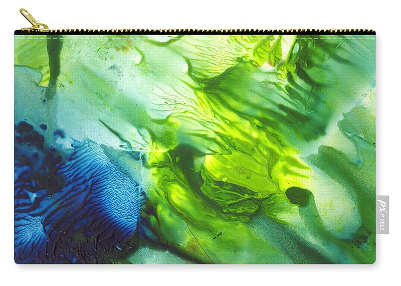 Blues Carry-all Pouch featuring the painting Yupo Blue Ice by Phyllis Brady