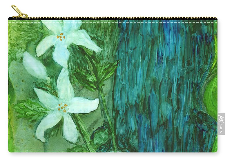 Flowers Carry-all Pouch featuring the painting Yupo Flower On Chair by Phyllis Brady