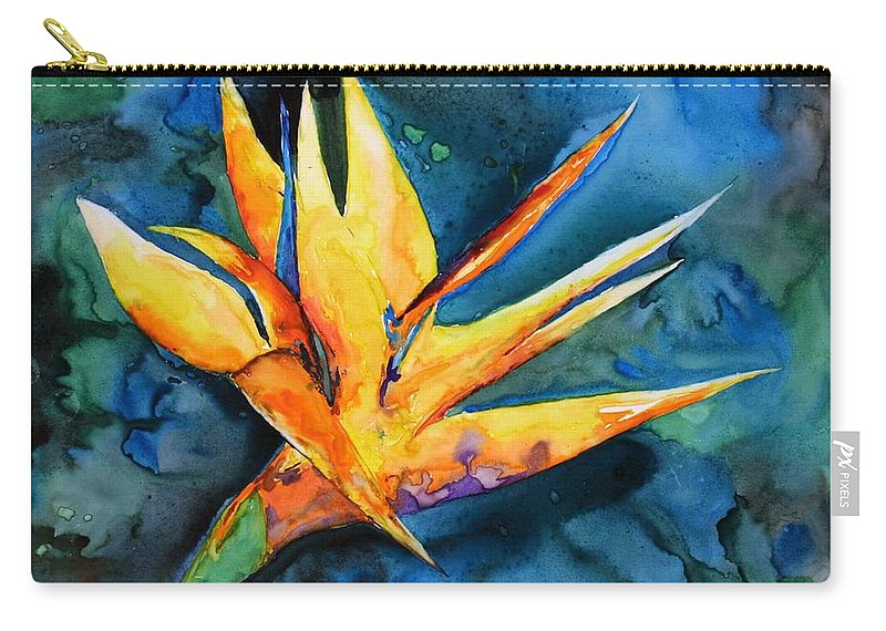 Bird Of Paradise Carry-all Pouch featuring the painting Yupo Paradise by Patricia Beebe