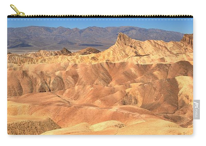 Zabriskie Point Carry-all Pouch featuring the photograph Zabriskie Point Medium Panorama by Adam Jewell