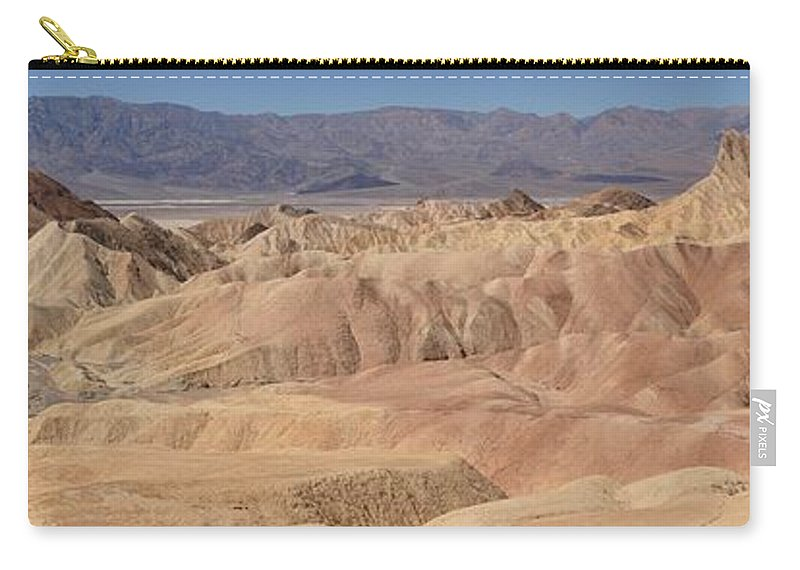 Zabriskie Point Carry-all Pouch featuring the photograph Zabriskie Point Panorama by Adam Jewell