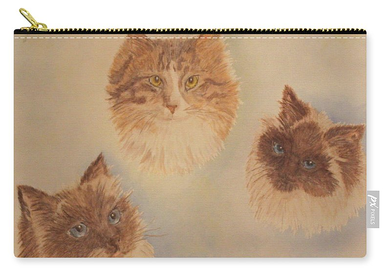 Cats Carry-all Pouch featuring the painting Zack Zeus And Zooie by Carol Luzzi