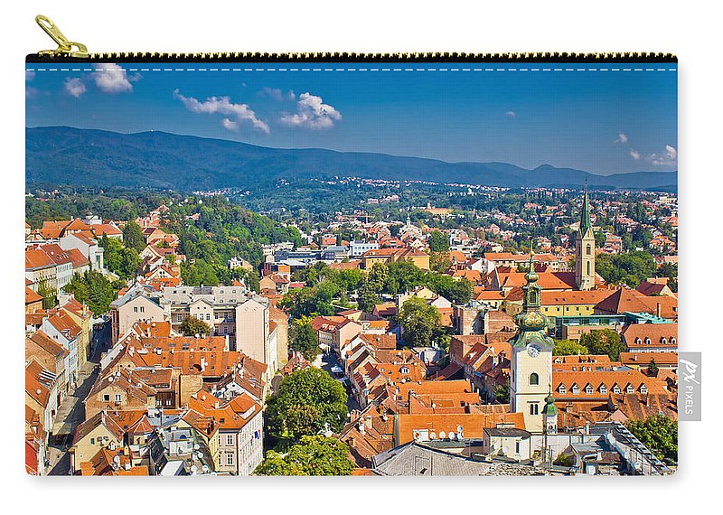 Croatia Carry-all Pouch featuring the photograph Zagreb Capital Of Croatia Aerial View by Brch Photography