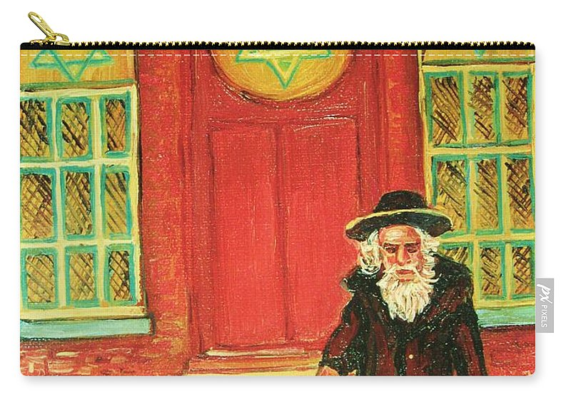 Synagogues Carry-all Pouch featuring the painting Zaida's Shul by Carole Spandau