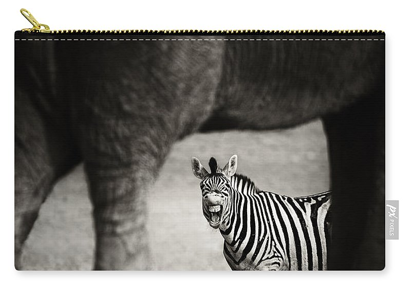 Wild Carry-all Pouch featuring the photograph Zebra Barking by Johan Swanepoel