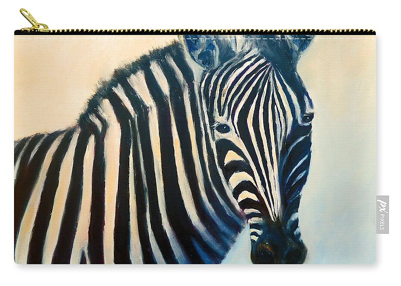 Zebra Carry-all Pouch featuring the painting Zebra by Carolyn Jarvis