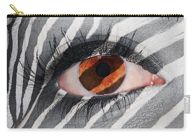 Creepy Carry-all Pouch featuring the photograph Zebra Eye by Paul Fell