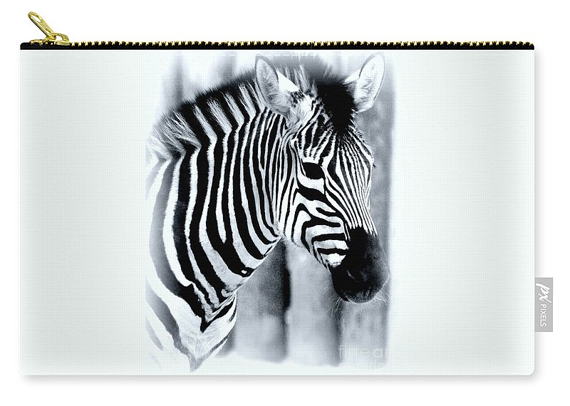 #zebra # Carry-all Pouch featuring the photograph Zebra by Kathleen Struckle
