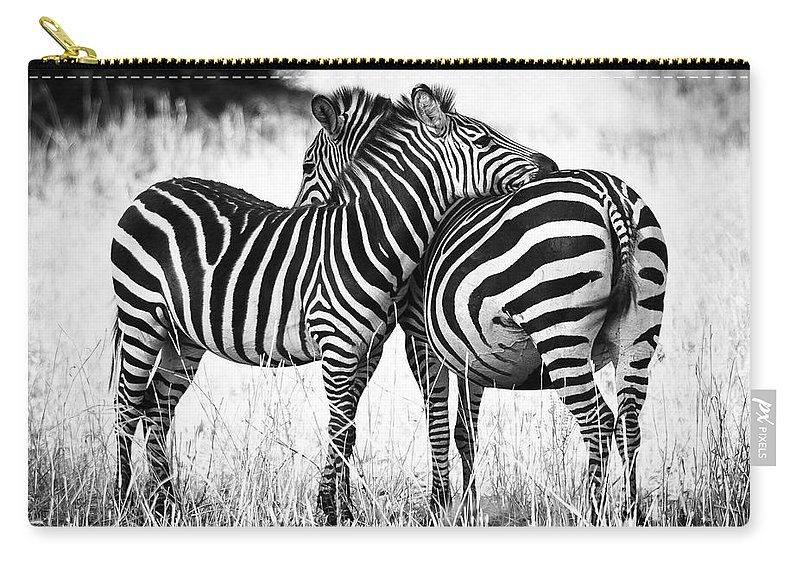 3scape Carry-all Pouch featuring the photograph Zebra Love by Adam Romanowicz