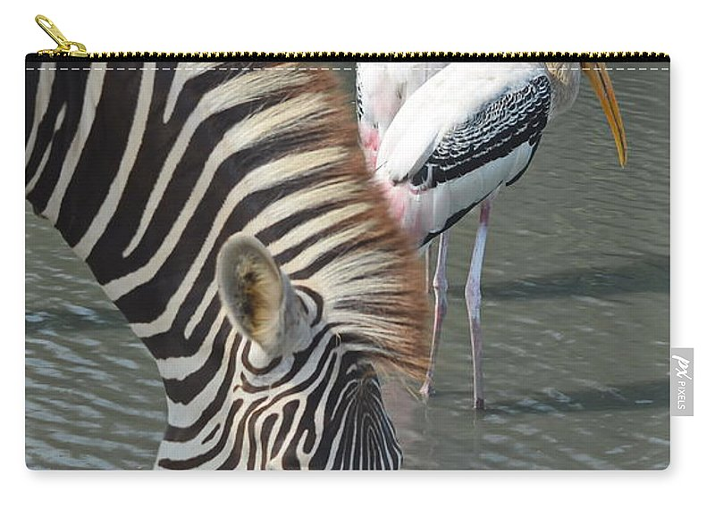 Michelle Meenawong Carry-all Pouch featuring the photograph Zebra by Michelle Meenawong