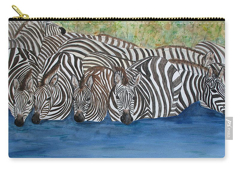 Zebra Carry-all Pouch featuring the painting Zebra Pool by Patricia Beebe