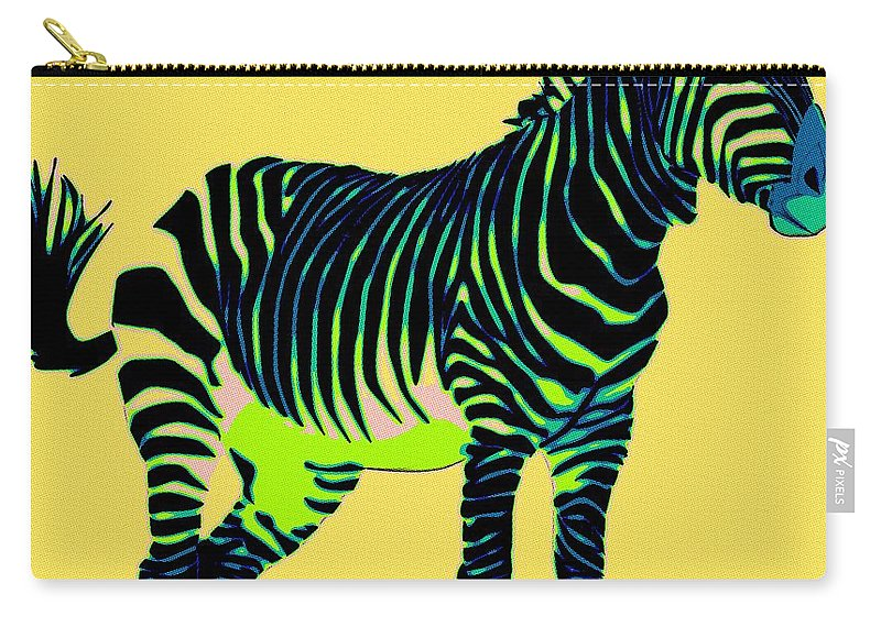 Zebra Carry-all Pouch featuring the painting Zebra Pop Art by Florian Rodarte