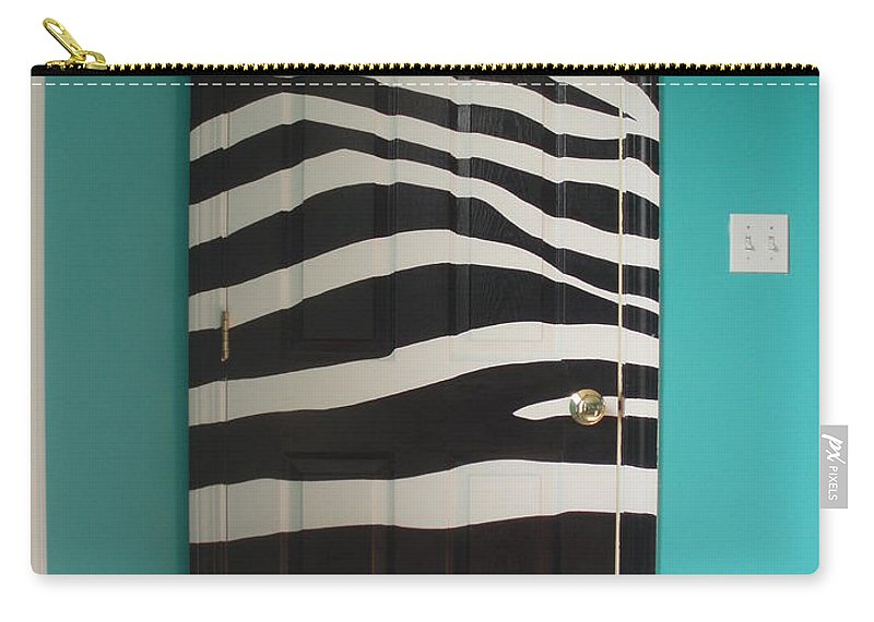 Acrylic Paint On Wood Carry-all Pouch featuring the painting Zebra Stripe Mural - Door Number 2 by Sean Connolly