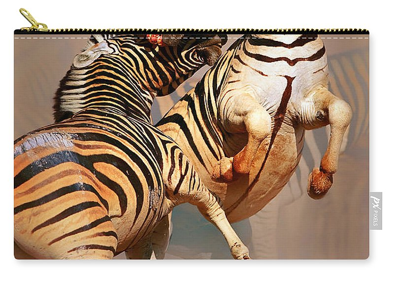 Wild Carry-all Pouch featuring the photograph Zebras Fighting by Johan Swanepoel