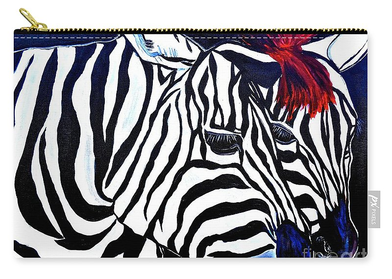 Zebras Carry-all Pouch featuring the painting Zebras On A Blue Night by Saundra Myles
