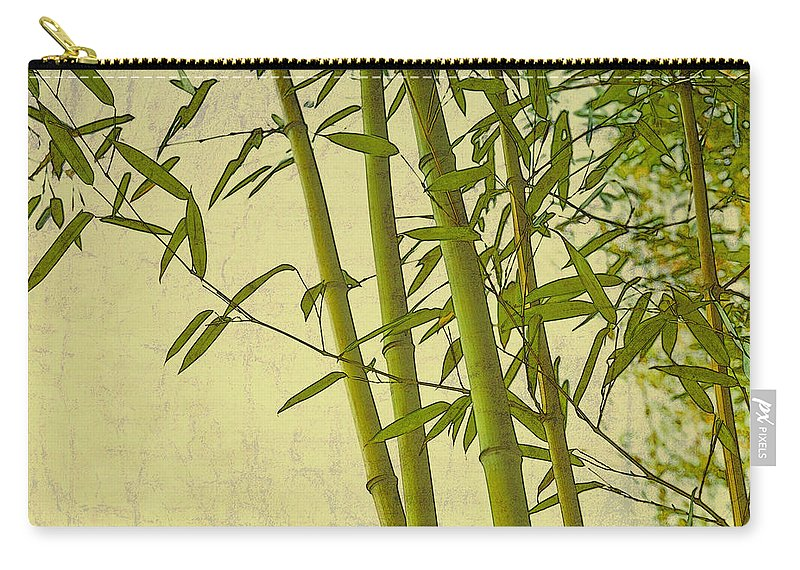 Asian Carry-all Pouch featuring the digital art Zen Bamboo Abstract I by Marianne Campolongo