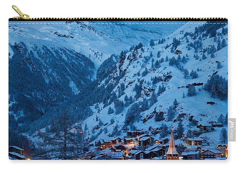 Dusk Carry-all Pouch featuring the photograph Zermatt - Winter's Night by Brian Jannsen