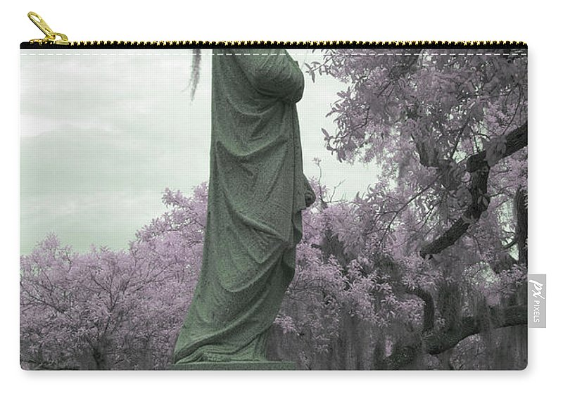 Near Carry-all Pouch featuring the photograph Ziba King Memorial Statue Side View Florida Usa Near Infrared Gr by Sally Rockefeller