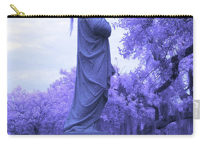 Near Carry-all Pouch featuring the photograph Ziba King Memorial Statue Side View Florida Usa Near Infrared by Sally Rockefeller