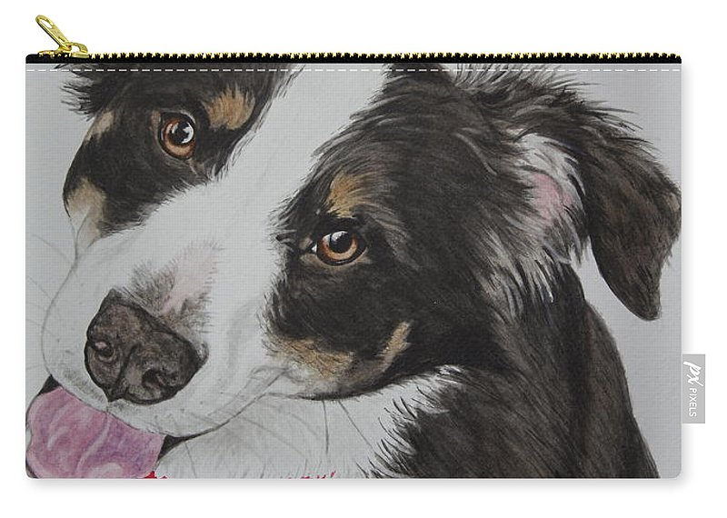 Dog Carry-all Pouch featuring the painting Zoey by Megan Cohen