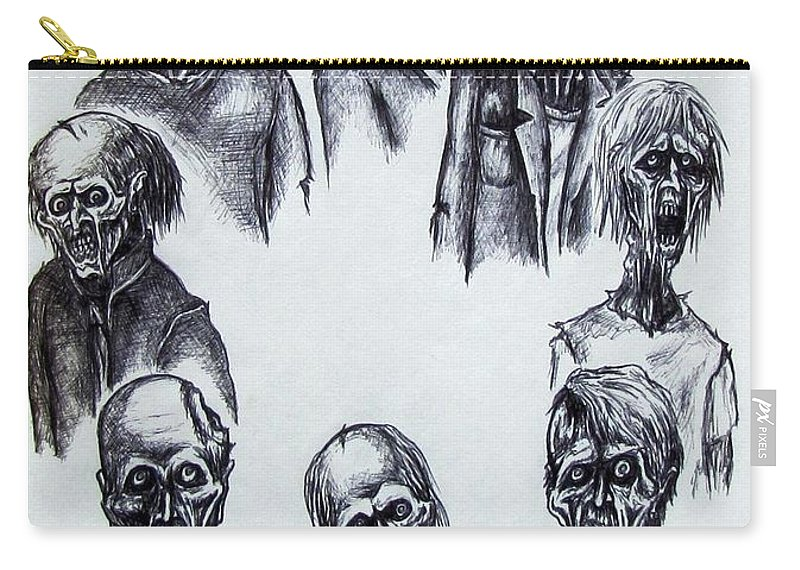Michael Carry-all Pouch featuring the drawing Zombies by Michael TMAD Finney
