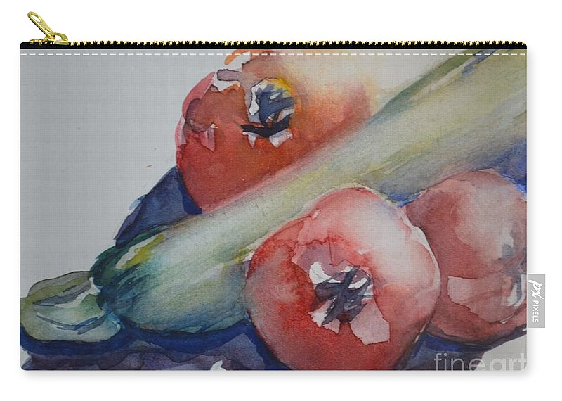 Zucchini Carry-all Pouch featuring the painting Zucchini And Tomatoes by Gail Heffron